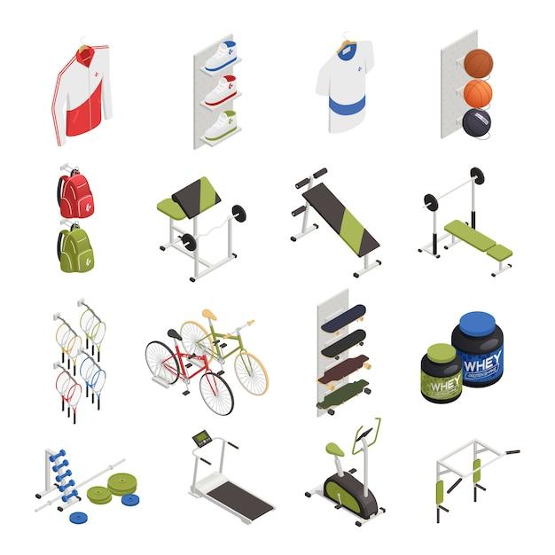 Magasin De Sport Avec équipement D'exercice Vêtements Et Chaussures Vélos Et Planches à Roulettes éléments Isométriques De Nutrition Vecteur gratuit