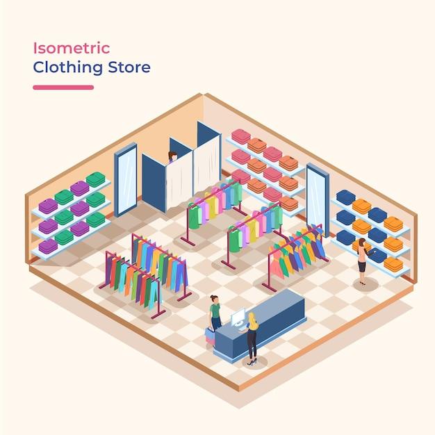 Magasin De Vêtements Isométriques Vecteur gratuit