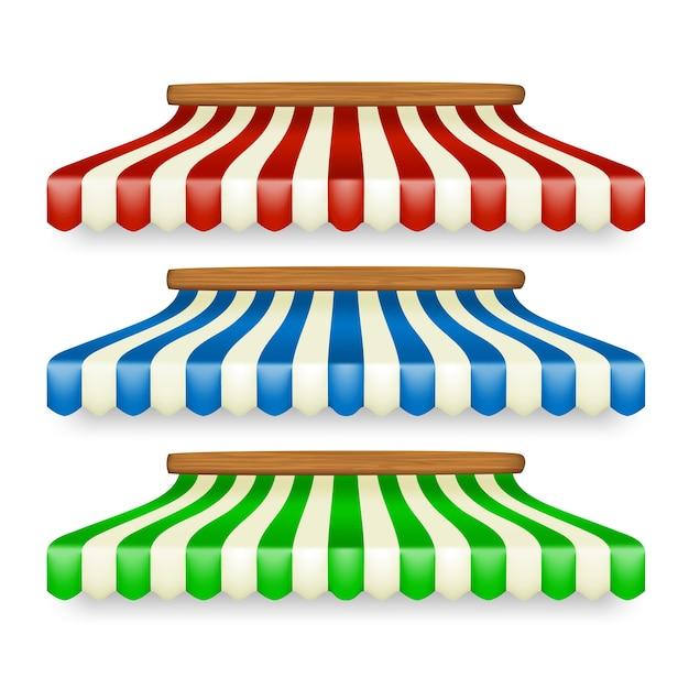 Magasiner Les Auvents Différents à Rayures Vecteur Premium