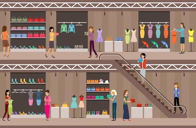 Magasinez Des Vêtements Et Des Chaussures Pour Femmes. Centre Commercial. Supermarché Vecteur Premium
