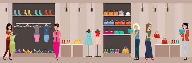 Magasinez Des Vêtements Et Des Chaussures Pour Femmes. Centre Commercial. Vecteur Premium