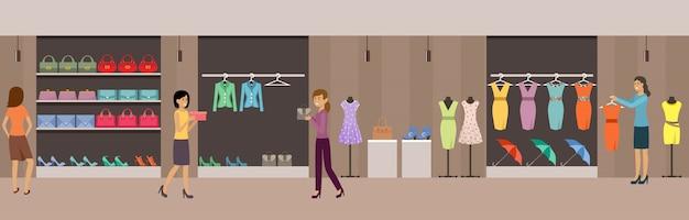 Magasinez Des Vêtements Et Des Chaussures Pour Femmes. Vecteur Premium