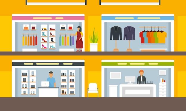 Magasins sur centre commercial Vecteur Premium