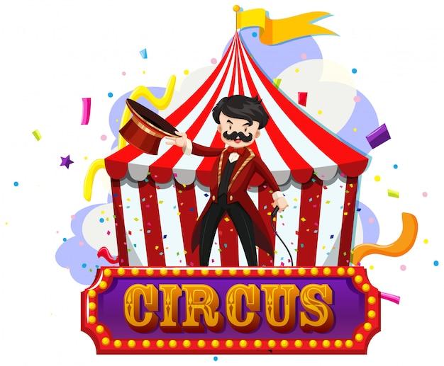Magicien de cirque une tente avec signe isolé Vecteur gratuit