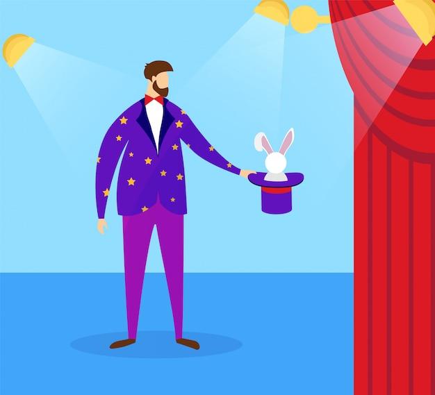 Magicien en costume tenant haut-de-forme avec lapin. Vecteur Premium
