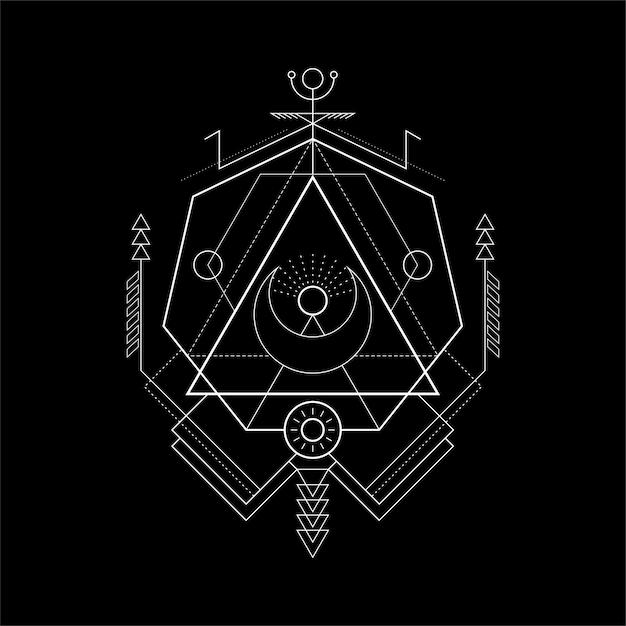 Magie sacrée de la géométrie sacrée Vecteur Premium
