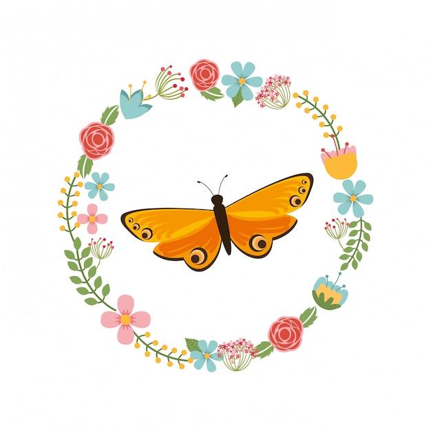 Magnifique Cadre Papillon Vecteur gratuit
