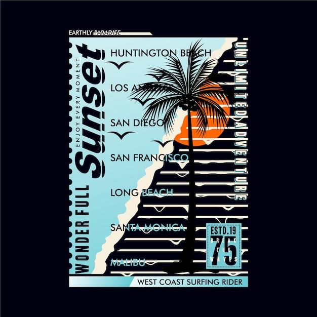 Magnifique Coucher De Soleil En Californie Sur La Plage Vecteur Premium