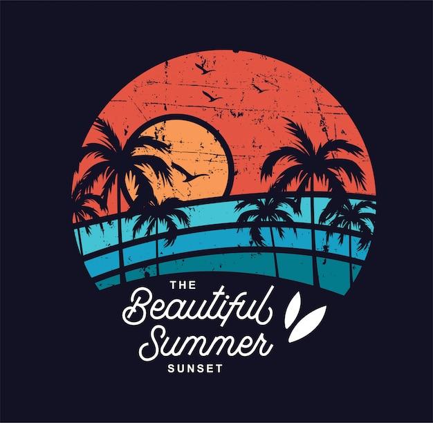 Le magnifique coucher de soleil d'été Vecteur Premium