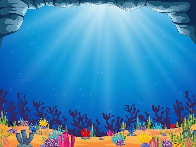 Un magnifique fond d'océan avec l'eau bleue Vecteur Premium