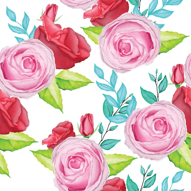 Magnifique motif rose avec aquarelle Vecteur Premium