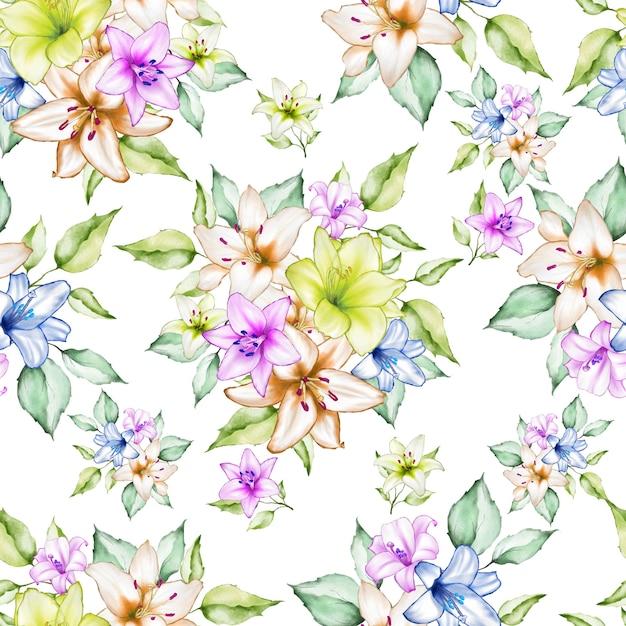 Magnifique motif sans soudure floral aquarelle Vecteur Premium