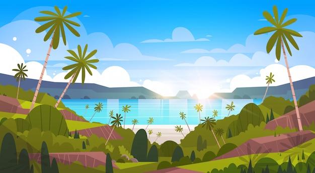 Magnifique paysage en bord de mer, plage d'été avec palmier, vue sur le complexe Vecteur Premium