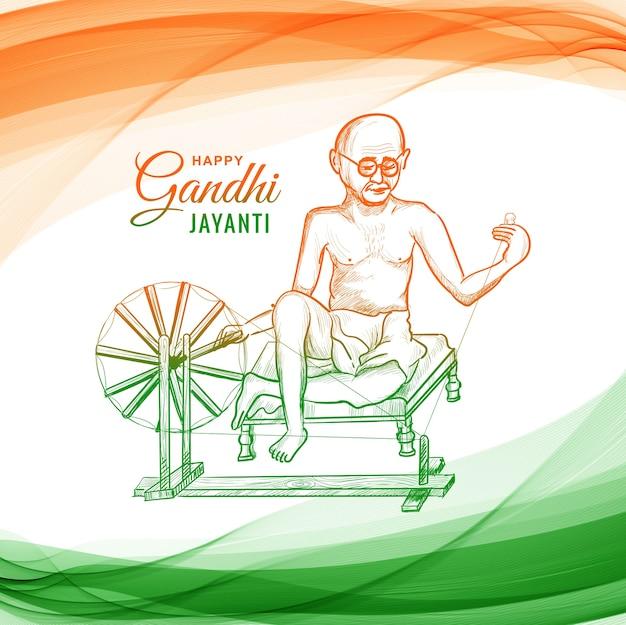Mahatma Gandhi Pour Gandhi Jayanti Sur La Vague Vecteur gratuit