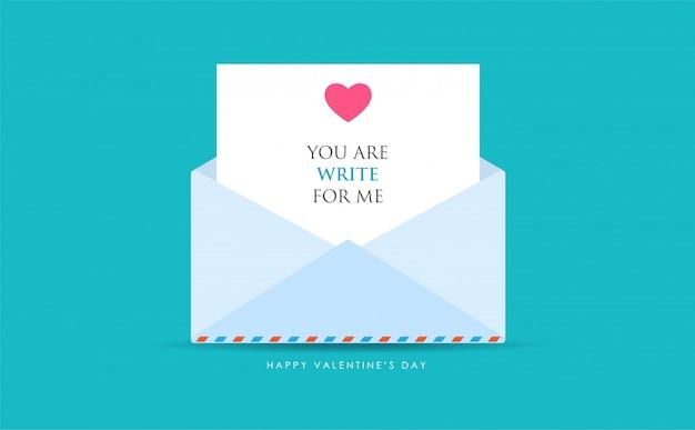 Un mail ouvert avec message d'amour Vecteur Premium