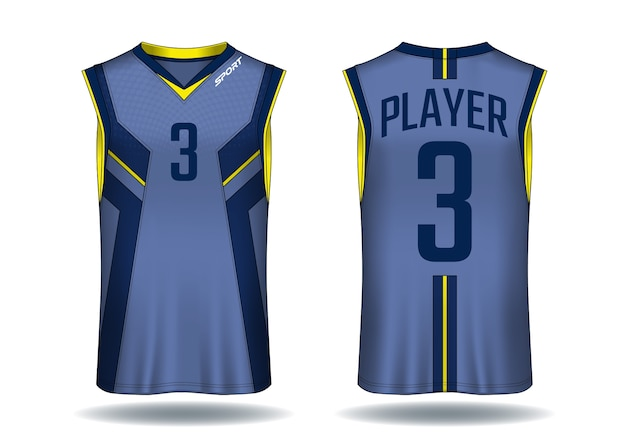 Maillot de basket-ball, illustration de sport débardeur. Vecteur Premium