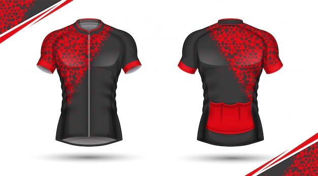 Maillot de cyclisme, devant et dos Vecteur Premium