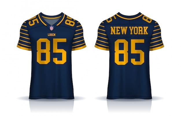 Maillot de football américain, modèle de conception sport t-shirt. vue avant et arrière uniforme. Vecteur Premium