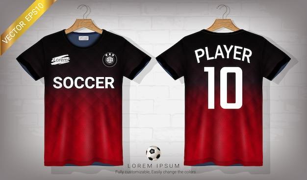 Maillot de football et modèle de maquette de sport t-shirt Vecteur Premium
