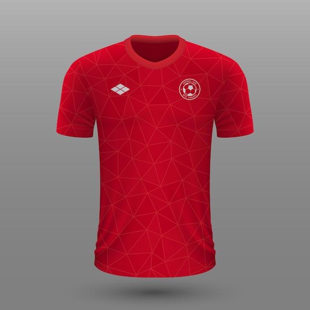 Maillot De Football Réaliste, Modèle De Maillot Du Canada Pour Kit De Football. Vecteur Premium