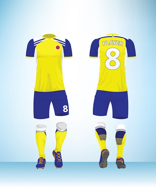 Maillot de football ou t-shirt de football mock up. Vecteur Premium