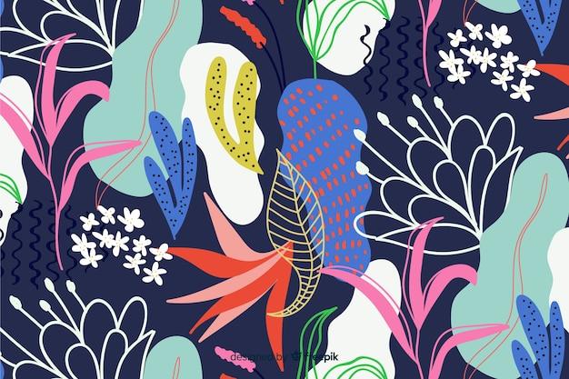 Main abstraite dessiner fond floral Vecteur gratuit