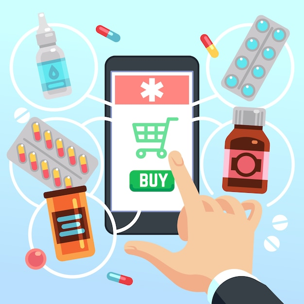 La main de l'acheteur sélectionne et achète des médicaments et des médicaments sur l'écran du téléphone cellulaire Vecteur Premium
