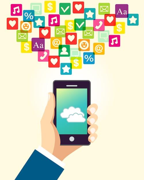Main d'affaires à l'aide de smartphone Vecteur gratuit