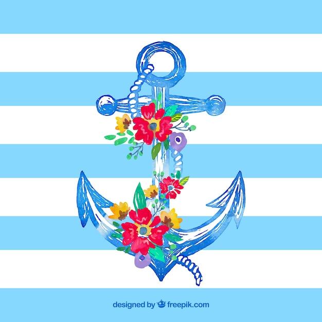 Main ancre dessinée avec des fleurs Vecteur gratuit