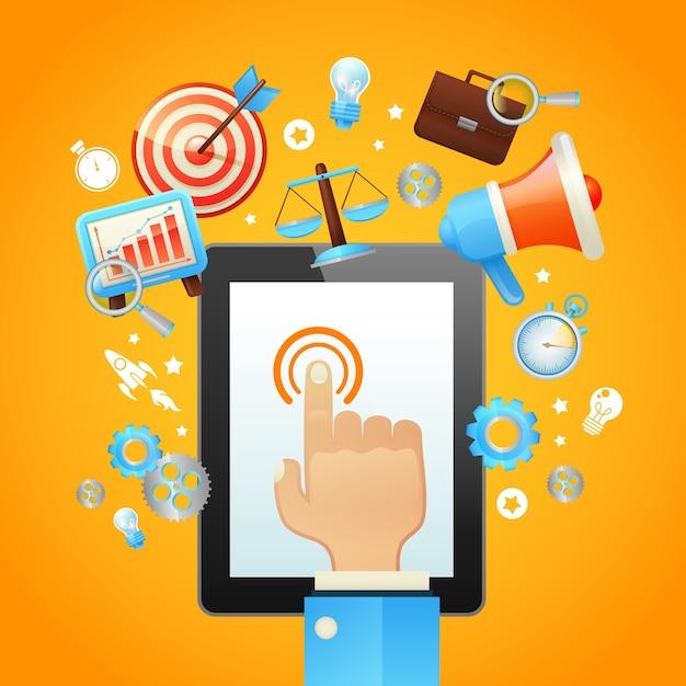 Main avec tablette Vecteur gratuit