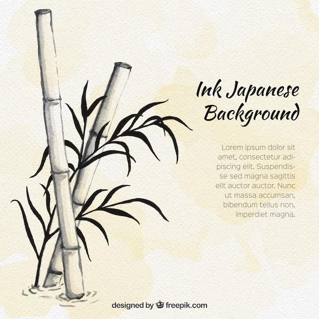 Main Bambou Dessinée Fond D'aquarelle Vecteur gratuit