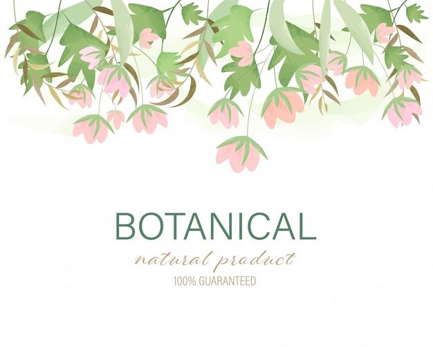 Main botanique fond naturel dessiné peint floral cadre guirlande aquarelle laisse. Vecteur Premium