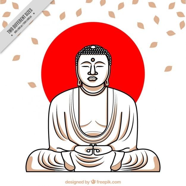 Main Buddha Dessiné Avec Cercle Rouge Fond Vecteur gratuit