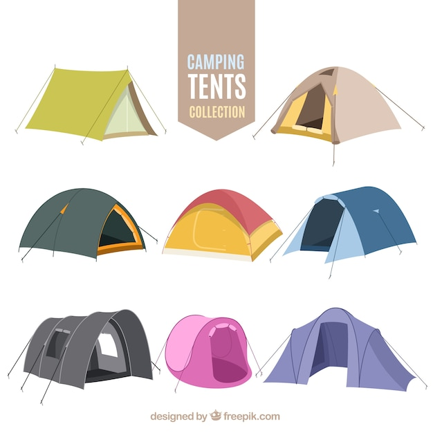 Main de camping dessinée collection de tente Vecteur gratuit
