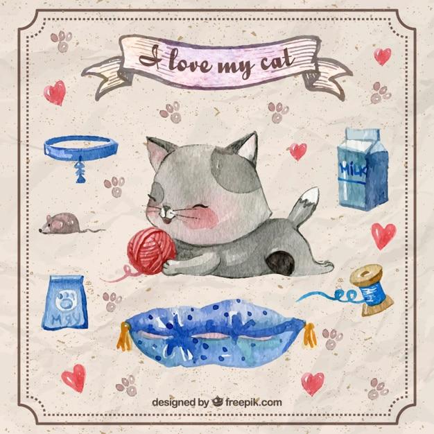 Main chaton peint en jouant avec une boule de laine et accessoires pour animaux Vecteur gratuit