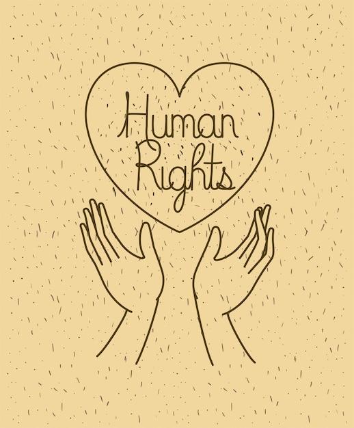 Main avec cœur dessine des droits de l'homme Vecteur Premium