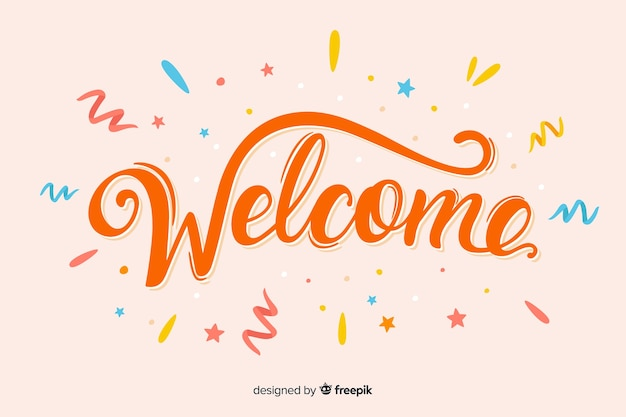 Main colorée bienvenue pour la page de destination Vecteur gratuit