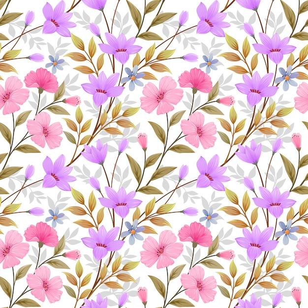 Main Coloree Dessiner Des Fleurs Fond D Ecran Sans Couture Vecteur Premium