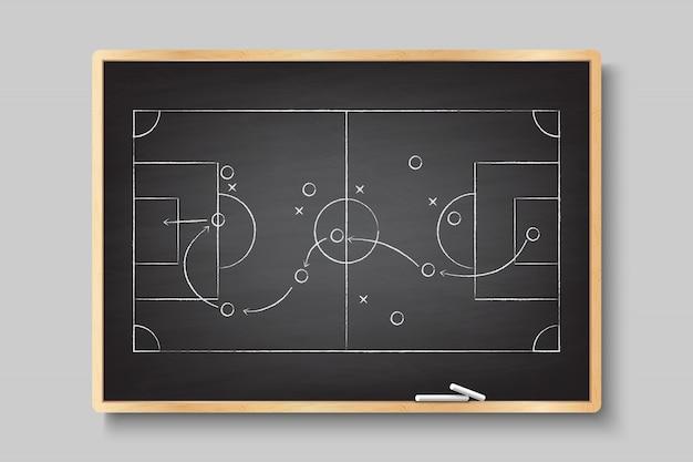 Main De Craie Dessinant Avec Stratégie De Jeu De Football. Vecteur Premium