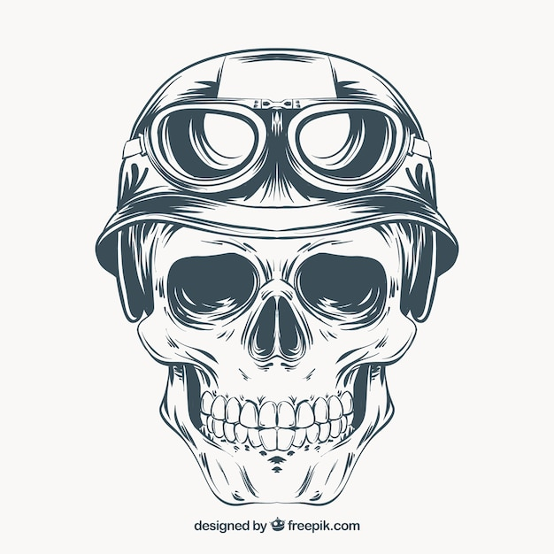 Main crâne dessiné avec un casque et des lunettes Vecteur gratuit