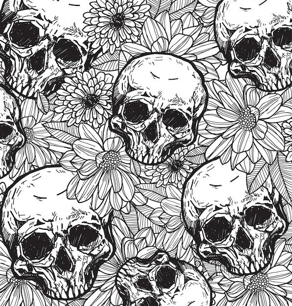Main crâne et fleur esquisse avec dessin au trait Vecteur Premium