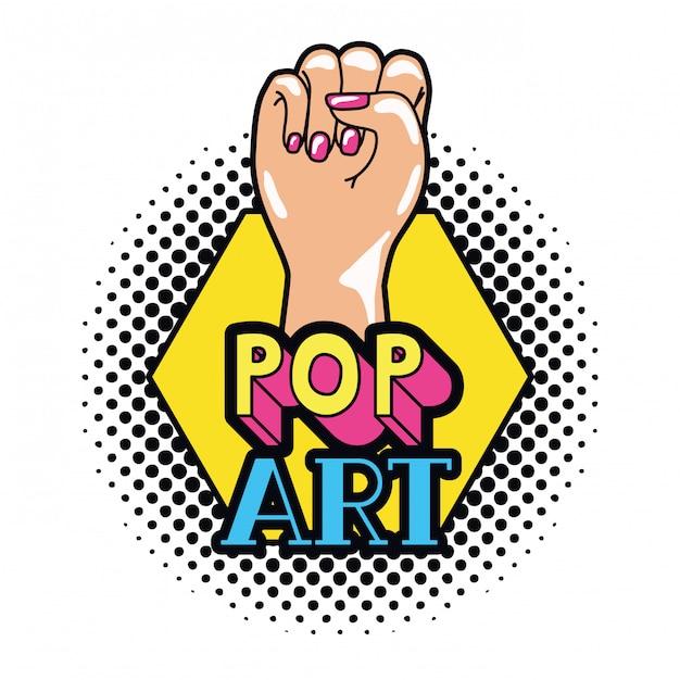 Main dans le signe du pop art Vecteur Premium