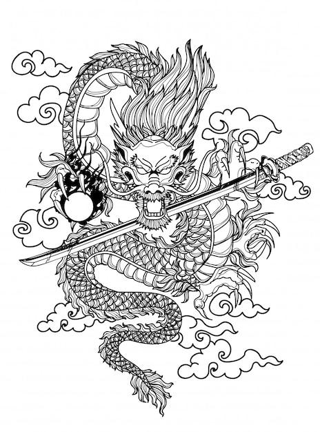 Main de dargon art de tatouage dessin et croquis noir et blanc Vecteur Premium