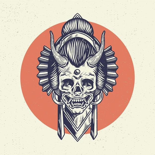 Main, Dessin Crâne Squelette Illustration, Le Concept De La Tête De Crâne Avec Un Style Japonais Traditionnel. Vecteur Premium