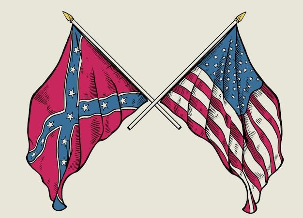 Main, dessin, croisement, drapeau union, drapeau confédéré Vecteur Premium