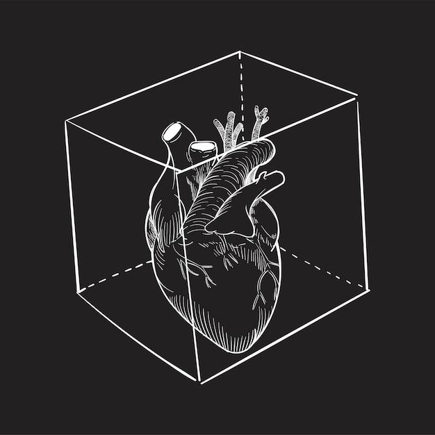 Main, dessin, illustration, de, captivé, coeur Vecteur gratuit