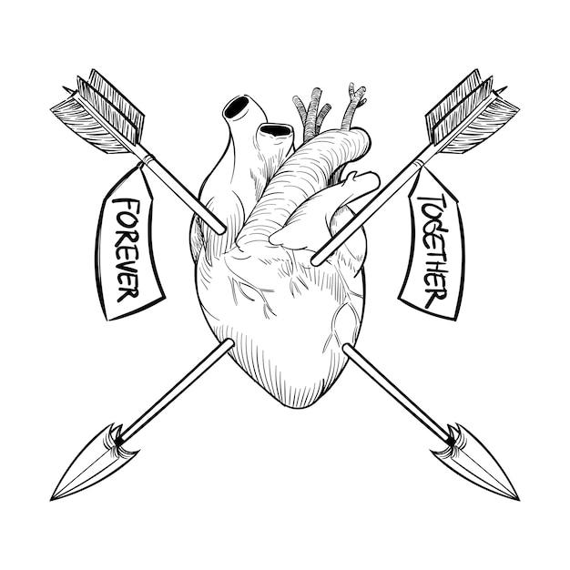 Main Dessin Illustration Du Concept De Lamour Télécharger Des