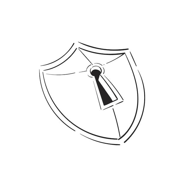 Main, dessin illustration du concept de sécurité Vecteur gratuit