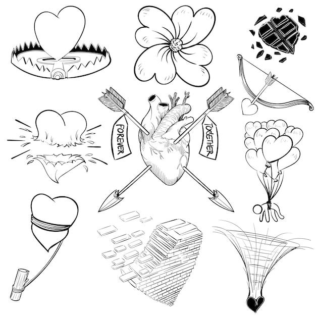 Main Dessin Illustration Ensemble De Amour Télécharger Des