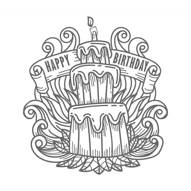 Main, Dessin, Joyeux Anniversaire, Gâteau, à, Salutation Vecteur Premium